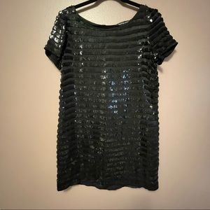 French Connection   Black Sequin Stripe Short Sleeve Mini Shift Dress   Size 8